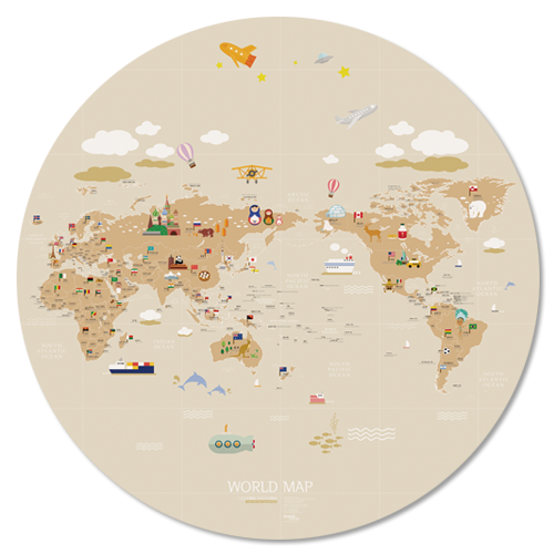 WORLD MAP ver.Circle (brown)